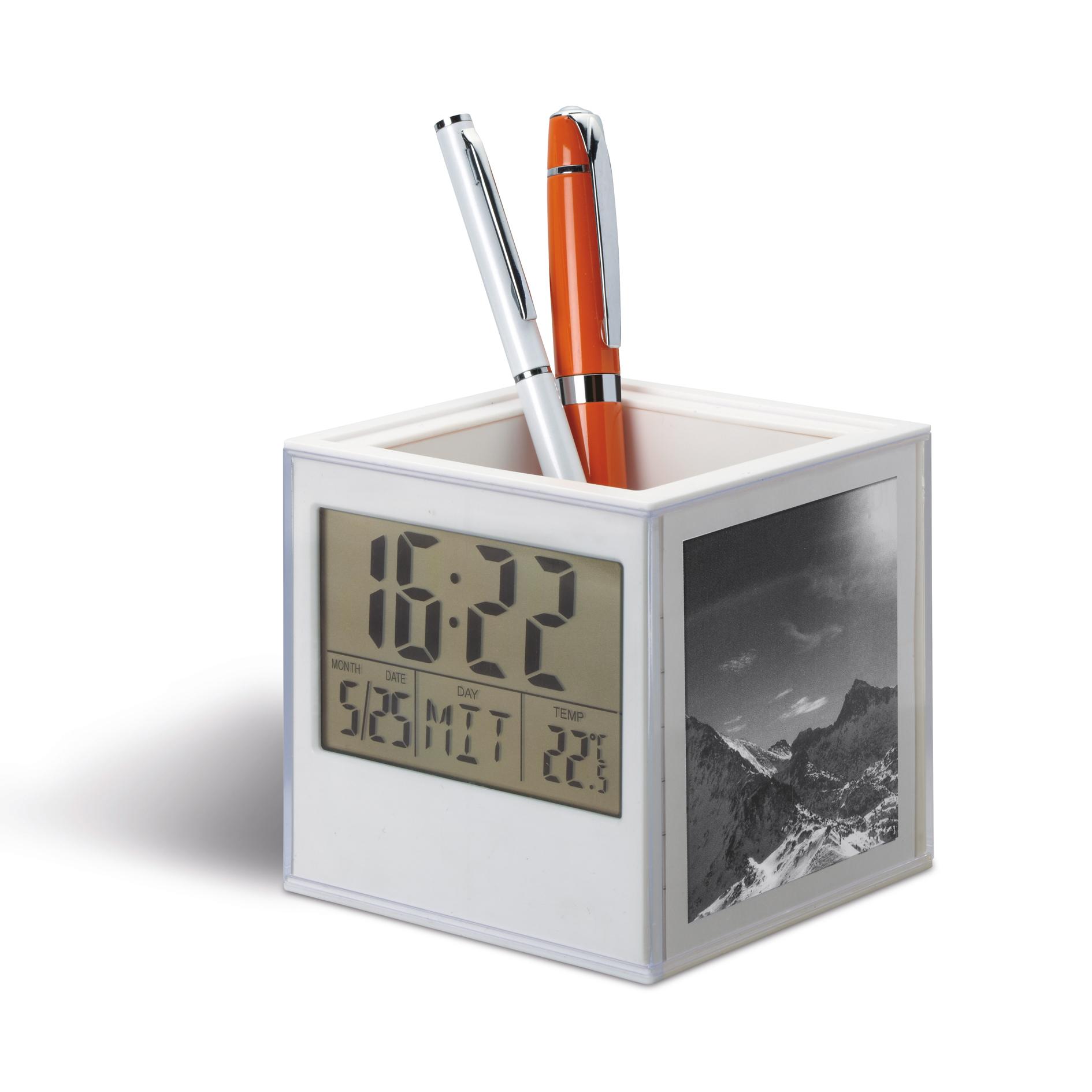 Stifteköcher mit Uhr, Th ...